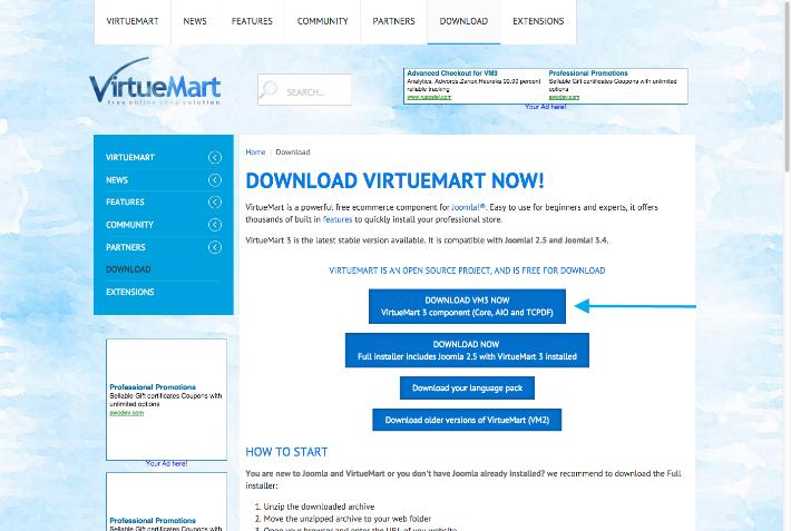 Installation du composant, modules, et plugins - VirtueMart